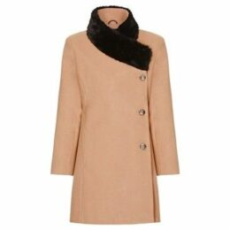 De La Creme  Camel Womens Assymetrical Fur Collar Coat  women's Coat in Beige