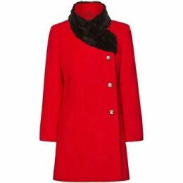 De La Creme  Red Womens Assymetrical Fur Collar Coat  women's Coat in Red
