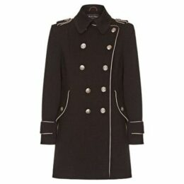 Anastasia  Black Womens DB Twill military With Pipng  women's Coat in Black