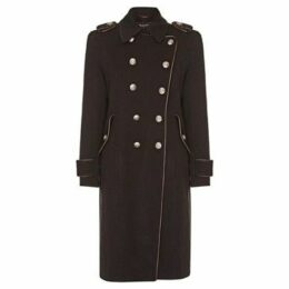 Anastasia  Grey Womens DB Twill military With Pipng  women's Coat in Grey