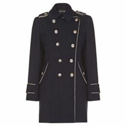Anastasia  Navy Womens DB Twill military With Pipng  women's Coat in Blue