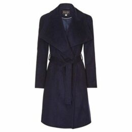 Anastasia  Womens Winter Belted Wrap Coat  women's Trench Coat in Blue