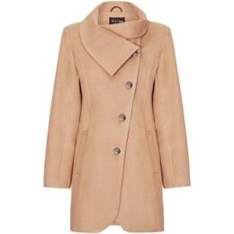 De La Creme  Black Womens Assymetic 3/4 Coat with Multi Buttons  women's Coat in Beige