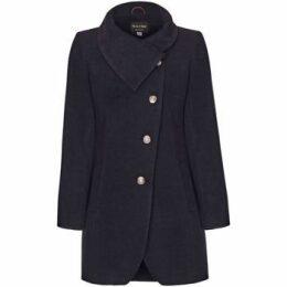 De La Creme  Camel Womens Assymetic 3/4 Coat with Multi Buttons  women's Coat in Grey