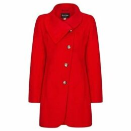 De La Creme  Grey Womens Assymetic 3/4 Coat with Multi Buttons  women's Coat in Red