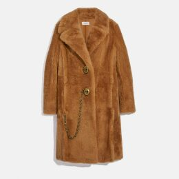 Coach Long Shearling Coat