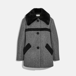 Coach Wool Coat With Shearling Trim