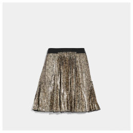 Coach Mixed Print Pleated Skirt