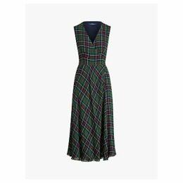 Polo Ralph Lauren Plaid Wrap Dress, Green/Red Tartan