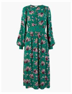 Per Una Floral Waisted Midi Dress