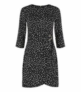 Blue Vanilla Black Spot Belted Tulip Dress New Look