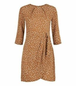 Blue Vanilla Brown Spot Belted Tulip Dress New Look