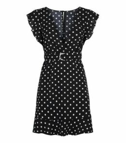 AX Paris Black Polka Dot Wrap Dress New Look