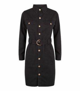 Petite Black Denim D-Ring Belted Shirt Dress New Look