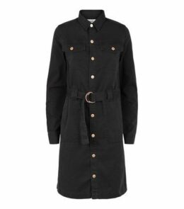Tall Black Denim D-Ring Belted Shirt Dress New Look