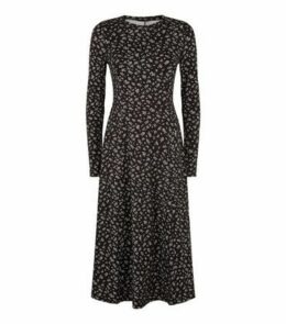 Black Floral Soft Touch Midi Dress New Look