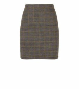 Light Grey Check Tube Mini Skirt New Look
