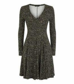 Black Spot Print Soft Touch Mini Dress New Look
