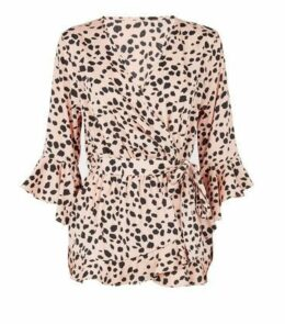 Influence Pink Animal Print Wrap Blouse New Look