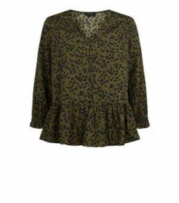 Khaki Floral V Neck Peplum Blouse New Look