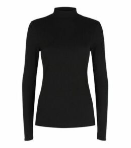 Black Ribbed Turtleneck T-Shirt New Look