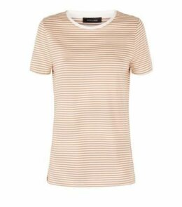Light Brown Stripe Print T-Shirt New Look