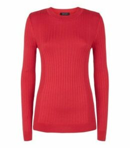 Red Ribbed Fine Knit Jumper New Look