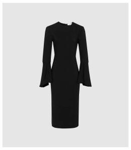 Reiss Annie - Flute Sleeve Bodycon Dress in Black, Womens, Size 16