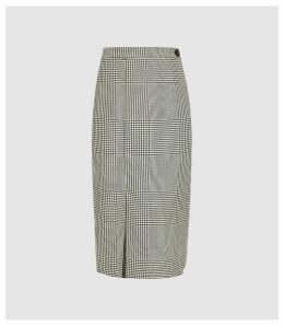 Reiss Tyler Skirt - Wrap Front Checked Skirt in Monochrome, Womens, Size 16