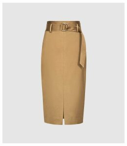 Reiss Bryn - Satin Belted Midi Skirt in Gold, Womens, Size 14