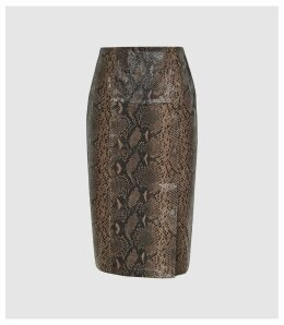 Reiss Annie - Snake Printed Leather Midi Skirt in Taupe, Womens, Size 14