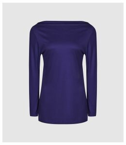 Reiss Marilyn - Straight Neck Top in Bright Blue, Womens, Size XL