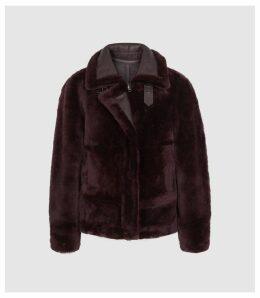 Reiss Belle - Reversible Shearling Jacket in Berry, Womens, Size XL
