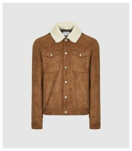 Reiss Miles - Suede Trucker Jacket With Shearling Collar in Tobacco, Mens, Size XXL