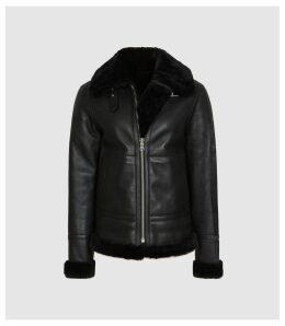 Reiss Belle - Reversible Shearling Jacket in Black, Womens, Size XL