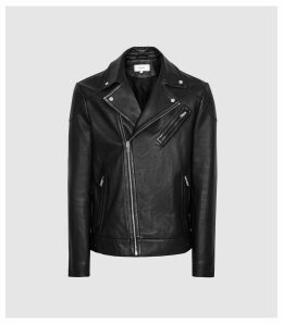 Reiss Mimo - Leather Biker Jacket in Black, Mens, Size XXL