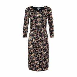 Printed Jersey Side Drape Dress