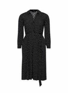 Black Polka Dot Shirt Dress, Black/White