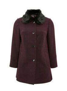 Plum Faux Fur Collar Coat, Plum