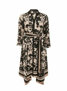 Neutral Animal Print Hanky Hem Shirt Dress, Beige/Natural