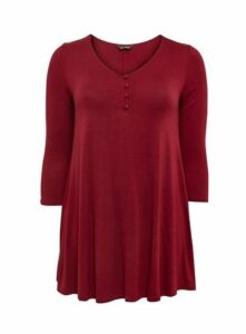 Berry Red Button Detail Swing Tunic, Berry