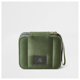 River Island Womens Khaki camo square satin make-up bag