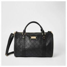 River Island Womens Black RI embossed travel bag