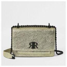 River Island Womens Gold textured RI underarm satchel bag