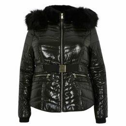 River Island Womens Plus Black faux fur high shine padded coat