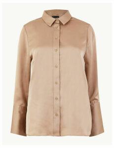 M&S Collection Satin Flared Cuff Shirt