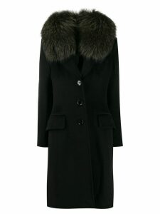 Dolce & Gabbana Pre-Owned 1990's fur-trimmed coat - Black