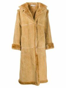 A.N.G.E.L.O. Vintage Cult 1980s shearling-trimmed coat - Neutrals