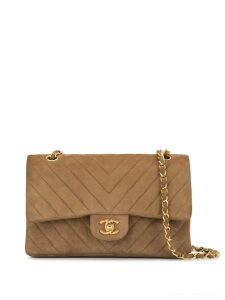 Chanel Pre-Owned V Stitch CC Double Flap Chain Shoulder Bag - Brown