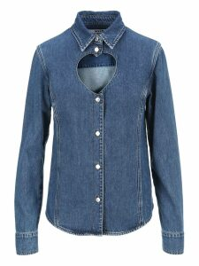 Msgm Heart Shape Cut Out Denim Shirt